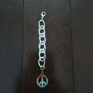 Keychain with peace sign pendant